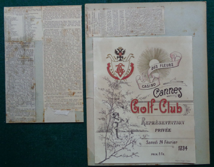 Antique Programme for Concert by Members of Cannes Mandelieu Golf Club 1894